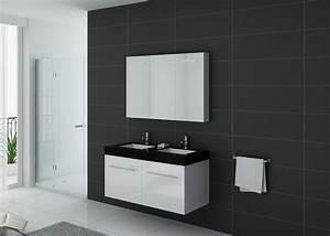 Double Vasque Noir : meuble de salle de bain double vasque noir et blanc ~ Teatrodelosmanantiales.com Idées de Décoration