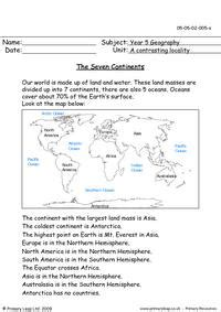 geography reading comprehension   continents
