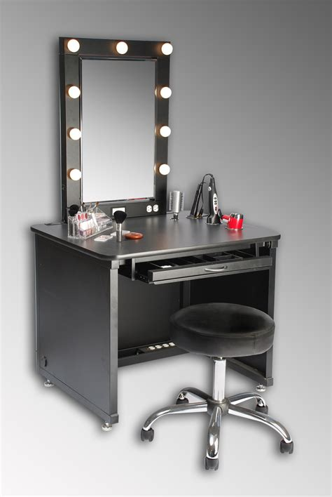 Small Black Modern Makeup Vanity Table With Lights Around