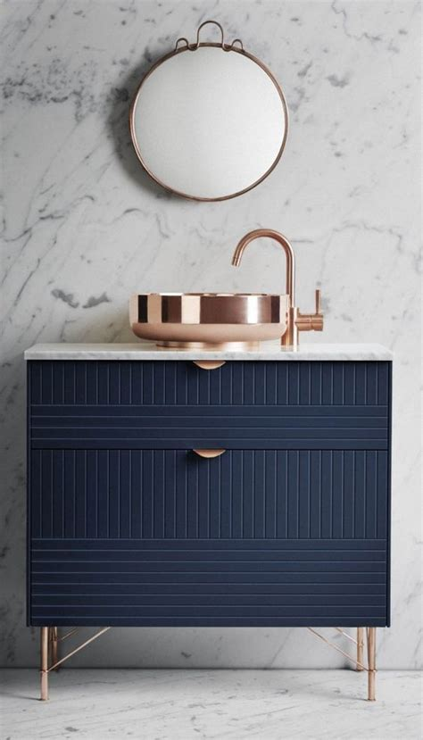 navy rose gold marble bath pinterest copper