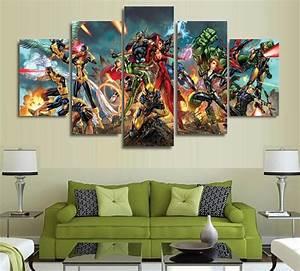 5 panels wall art super hero marvel spider man america art With marvel wall art