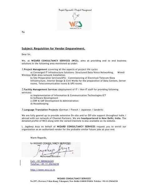 Cover Letter Wizard Free by To Subject Requisition For Vendor Empanelment Dear Sir