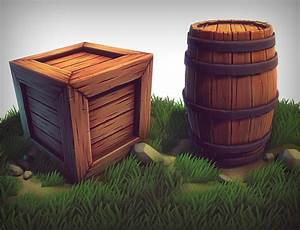 3d, Stylized, Crate, Barrel