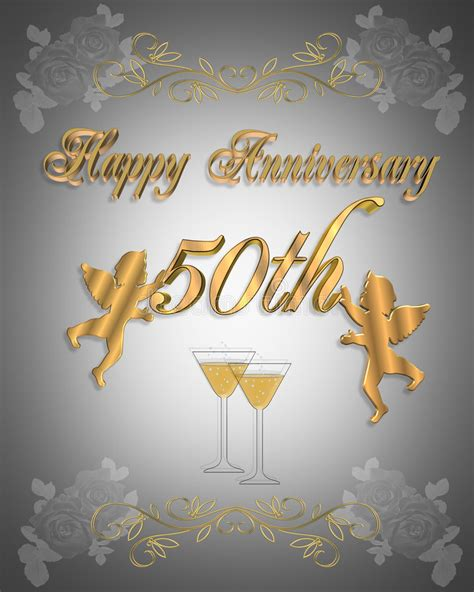 50th Wedding Anniversary Invitation 3D Stock Illustration