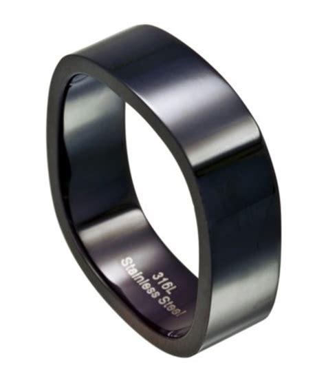 black stainless steel wedding band  men   sided design