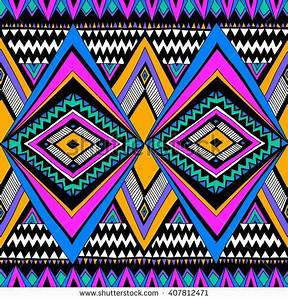 neon color tribal Navajo vector seamless pattern with