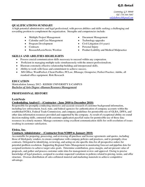Administrative Skills For Assistant Resume by Exle Resume Sle Resume Administrative Assistant Skills