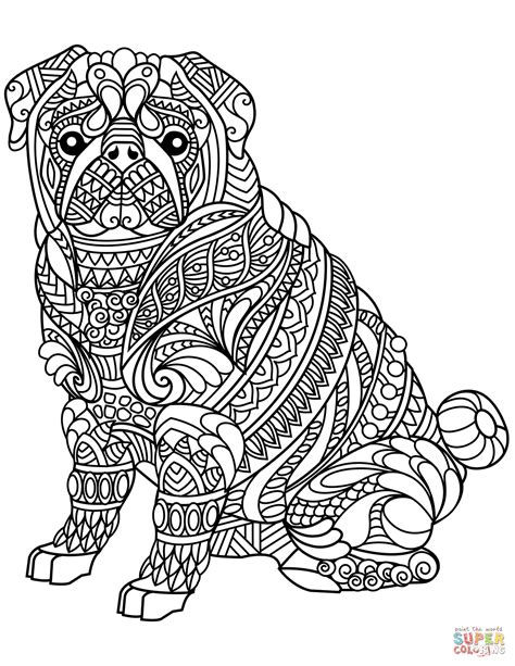 Coloring Zentangle by Pug Zentangle Coloring Page Free Printable Coloring