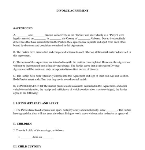 sample divorce agreement business template
