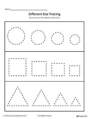 tracing  size shapes circle square triangle