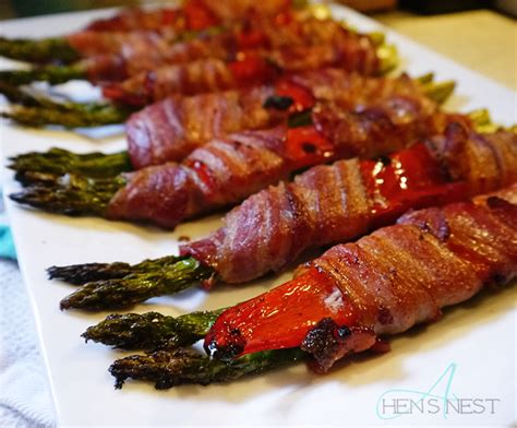 bacon wrap recipes oven baked bacon wrapped asparagus and red pepper bundles a hen s nest nw pa mom blog