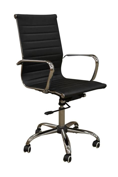 buy eames style high back ribbed faux leather office chair