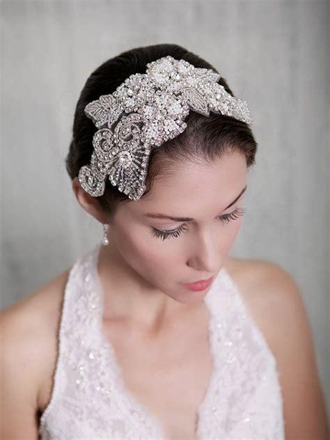 silver crystal bridal headpiece art deco  gildedshadows
