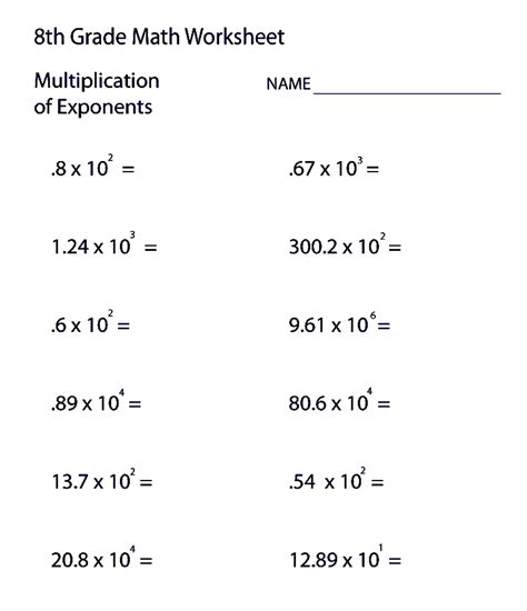 free printable 8th grade math worksheets with answers