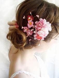 Hot Pink Bridal Hair Accessories Cherry Blossom Hair