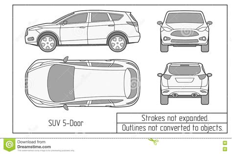 Outline Sedan Car Vector Drawing In Different Point Of