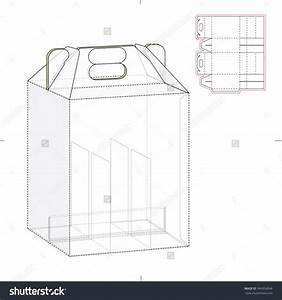six pack carrier box with die cut template stock vector With 4 pack carrier template