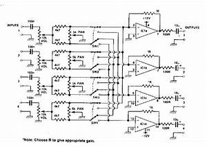 4 Channel Audio Mixer With Tl074 - Mixer - Audio Circuit - Circuit Diagram