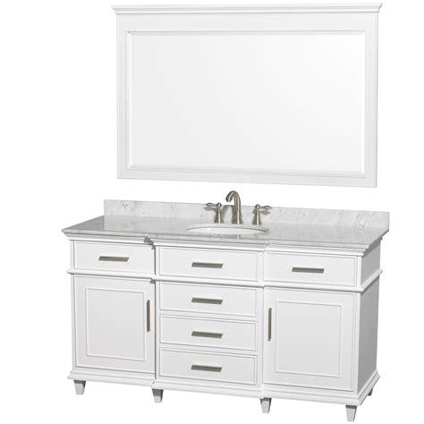 ackley 60 inch white finish single bathroom vanity