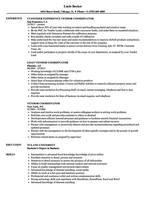 Vendor Development Manager Resume by Vendor Coordinator Resume Sles Velvet