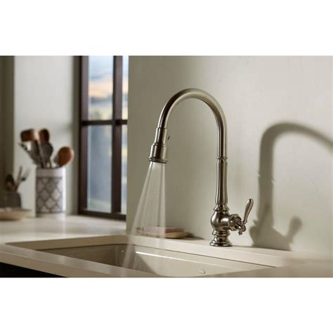 installing kitchen faucet kohler artifacts single handle pull sprayer kitchen