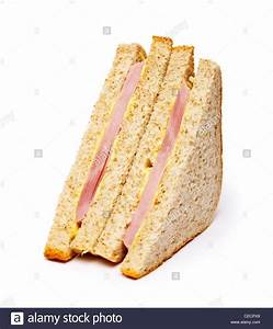 Ham sandwich on white background Stock Photo, Royalty Free