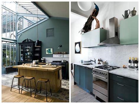 decoration mur cuisine cuisine verte mur meubles électroménager déco
