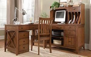 Hearthstone, Rustic, Oak, Finish, L, Shaped, Home, Office, Desk
