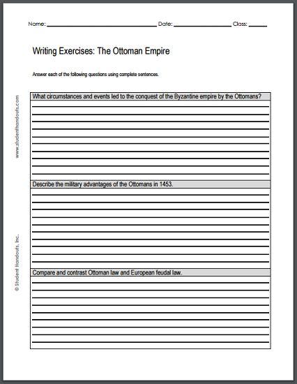 Ottoman Empire Essay by Ottoman Empire Writing Exercises Free Printable
