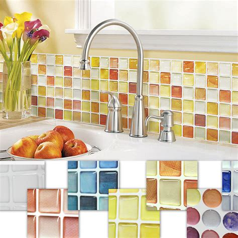 kitchen tiled wallpaper home decor mosaic tile bathroom kitchen removable 3d 3306