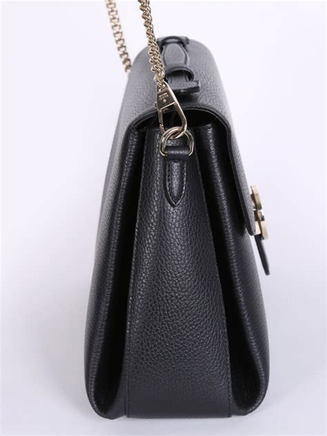 gucci gg interlocking leather chain top handle bag black