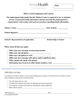 printable hipaa patient consent form templates