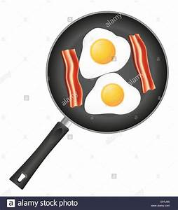 fried eggs with bacon in a frying pan illustration ...