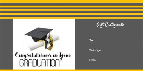 Graduation Gift Certificate Template Free by Graduation Gift Certificate Template Free Customizable
