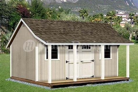 12' X 16' Shed With Porch / Pool House Plans #p81216, Free