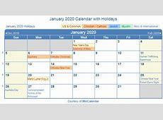 Print Friendly January 2020 US Calendar for printing