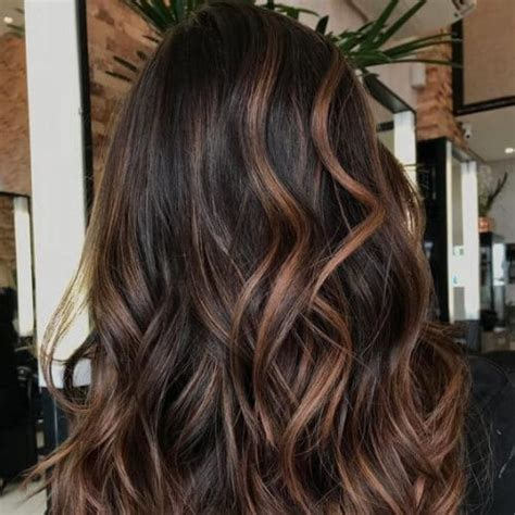 intense dark hair  caramel highlights ideas