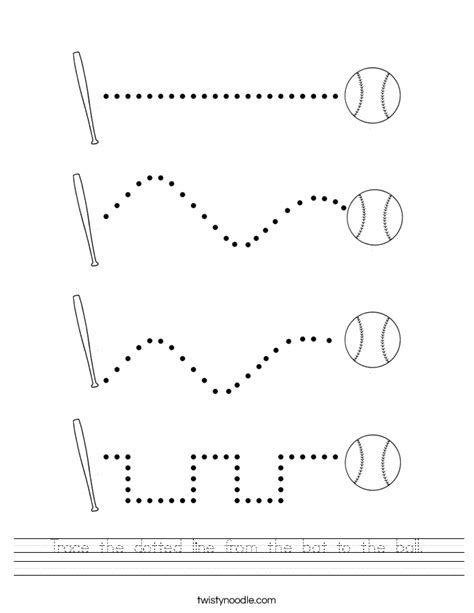 trace  dotted    bat   ball worksheet