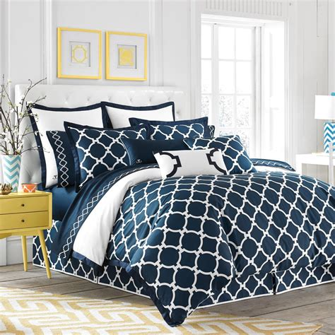 navy blue and white geometric pattern comforter set plus
