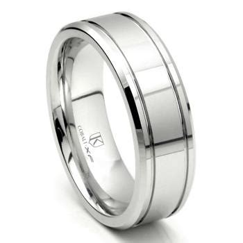 cobalt xf chrome 8mm groove high wedding band ring