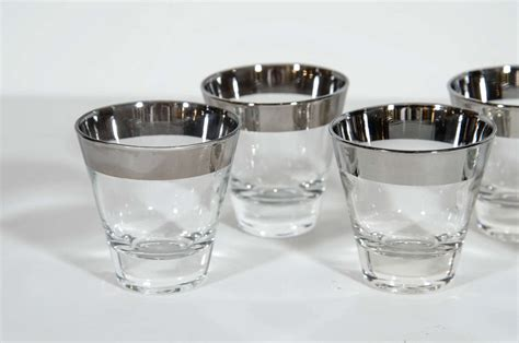 Set Of Eight Vintage Tapered Rock Barware Glasses By