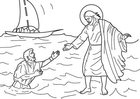 jesus walks  water coloring page  printable
