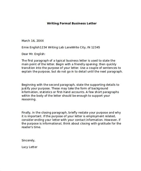 formal business letter format  examples   word