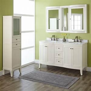 """60"""" Palmetto Creamy White Double Vanity Set - Bathroom"""
