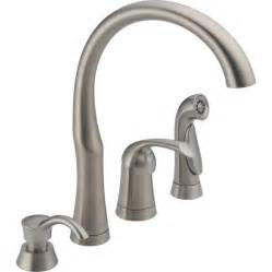 stainless faucets kitchen shop delta stainless 1 handle high arc kitchen faucet with side spray at lowes