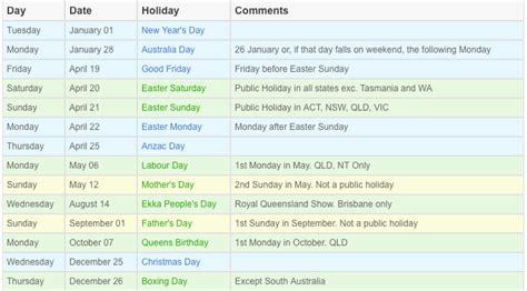 qld public holidays calendar holiday