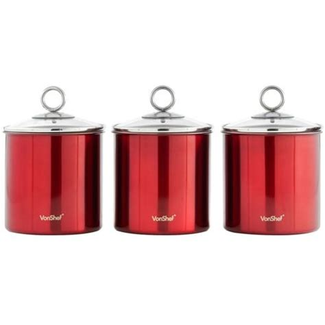 The largest will hold about one pound of sugar. Buy VonShef Red 3pc Kitchen Canister Set from our Tea & Coffee Storage range - Tesco