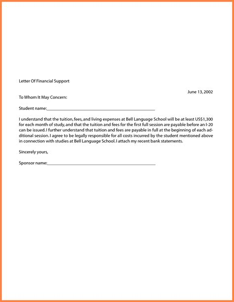letter of financial support letter of support sle template learnhowtoloseweight net 10039