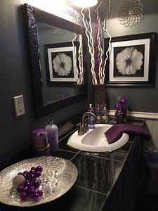Black, And, Grey, Bathroom, With, Lavender, Accents, Greyandpinkbedroomideas