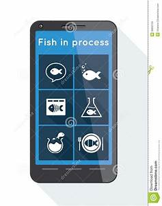 Flat Menu Buttons With Fish Icons On Smartphone Stock ...